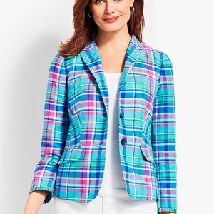 TALBOTS Madras Plaid Blazer Pink Linen 2 Button